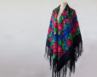 cobalt blue Russian shawl with green and pink, oversized shawl, fringed shawl, large floral wool shawl, indigo blue Pavlovo Posad shawl