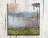 Misty forest art printed on canvas - housewarming gift idea