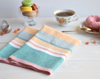 Colorful linen kitchen towel set of 2 with cotton, kitchen towels, dish tea towel, linen hand towel, dish towels, linen tea towel, towel