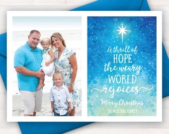 Christian Christmas Cards, Christmas Printable Photo Christmas Cards, A Thrill of Hope, Religious Christmas Cards, Scripture Holiday Cards