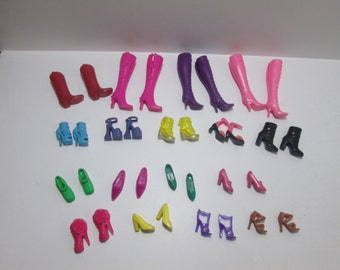 Barbie  Doll Shoe and Boot  lot / 17  pair as pictured / Assorted  Colors / Item 10-427