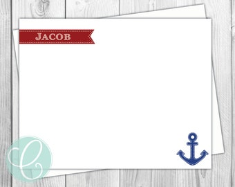 Boys Stationery - Preppy Anchor Nautical Flat Note Cards- Set of 12 - Personalized Thank You Cards Birthday
