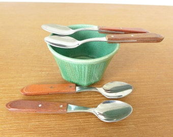 Four wood handled demitasse spoons from Brazil