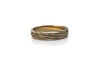Small Band with Driftwood Motif in Brass
