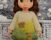 "handmade Outfit for Disney Animators 15"" doll - Dress, Hat and Leggings in green multicolour"