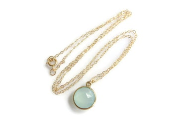 SALE:  Aqua Chalcedony Gold or Silver Necklace. Mint Chalcedony. Seafoam Gemstone. Gold Layering Necklace. Silver or Gold Choker.