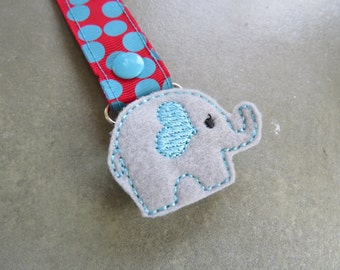 Pacifier Leash Paci Clip - Elephant with Heart Ear Feltie Metal Pacifier Clip