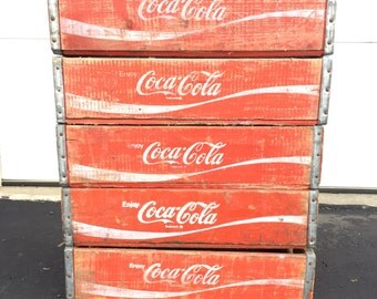 5 Vintage Coke Coca Cola Wood Soda Crates Cases