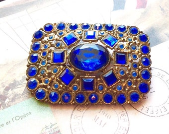 Art Deco Czech Blue Cobalt Glass Brooch Pin Gilt over Brass