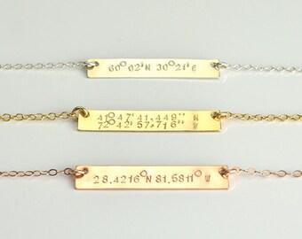 Custom Coordinates Necklace, Personalized Coordinates Bar Necklace, Location GPS Coordinates, Latitude Longitude, Custom Jewelry