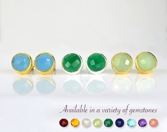 Gemstone studs, Round studs, green onyx studs, blue chalcedony post earrings, green chalcedony earrings bridesmaid gifts for her bezel studs