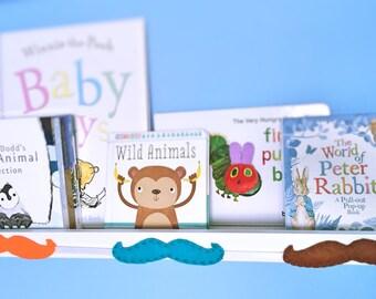 Felt Moustache Garland in Orange, Blue and Brown. Baby Boy Nursery or Baby Shower Gift
