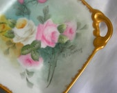 Square Rose Motif Handled Candy Dish | Artist Signed M F STERLING Japan | Vintage Circa 1950s