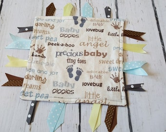Baby Tag Blanket for Boy or Girl