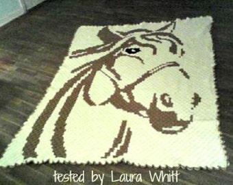 Horse C2C Graph & Word Chart, crochet pattern, corner to corner. afghan pattern, horse blanket, crochet blanket, crochet graph pattern