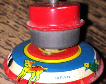 Lithograph Tin Spinning Top Art Deco Bright Graphics TinToy Antique Vintage Japanese Tin Toy