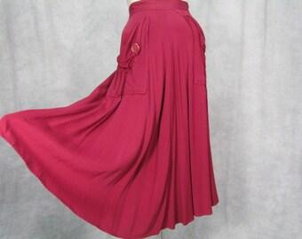 1940s Gabardine Skirt Burgundy Color with Pockets Swing USO Dance Rockabilly Jazz