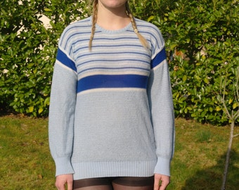 Vintage 70 baby blue striped pullover
