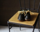 Blythe Doll / Hand made Leather shoes / work boots short / Dark green