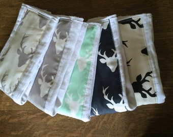 Baby Burp Cloth Gift - deer antlers - buck forest - stag- baby boy - baby girl - Modern baby