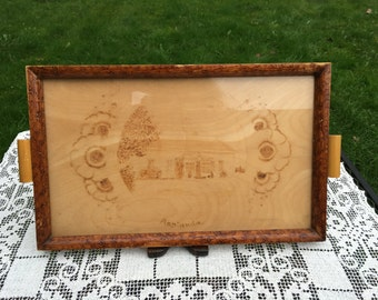 Rustic Swedish Tray/Glass Top Tray/Handmade Wood Tray/ 10 x 16,  Scandinavian Serving Tray with Carving of House, Asplunda, Rustic Folk Art