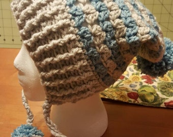 Crocheted woman's slouch hat with brim for winter