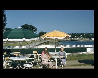 35 mm Slide/Transparency, Red Border Kodachrome: Green & Yellow Umbrellas (51216-10)