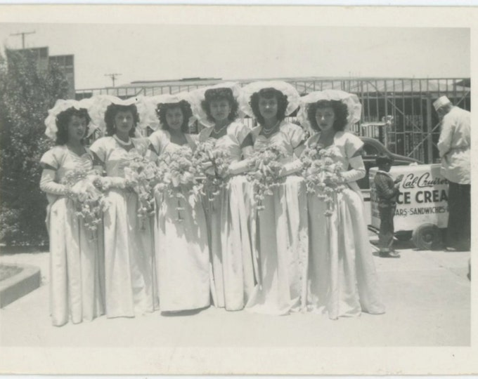 Line of Bridesmaids, Small Boy Buys Ice Cream, 1940s-50s Vintage Snapshot Photo (66469)