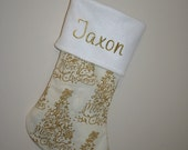 Personalized Christmas Stocking - Cream and Gold Christmas Tree and Owl - Holiday Decor