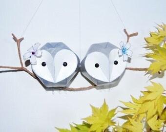 gay wedding gift, owl babies wall sculpture, paper anniversary