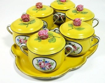 Antique Set of Six French Pots de Creme with Tray Delvaux Paris Yellow Floral