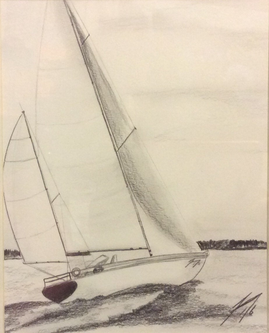 Sailboat in the Breeze Original Pencil Drawing