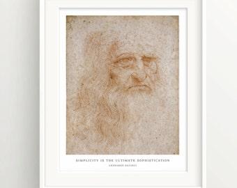 "Leonardo Davinci Print - Wall Art Print - Quote ""Simplicity is sophistication""  - White"