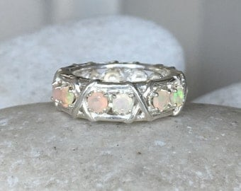 Unique Womens Wedding Opal Band- Opal Gemstone Statement Band- Wide Band Sterling Silver Ring- October Birthstone Ring- Opal Engagement Band