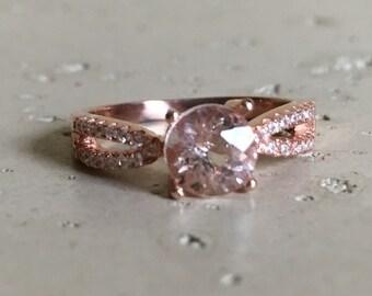 Split Shank Morganite Ring- Rose Gold Morganite Ring- Pink Gemstone Engagement Ring- Bridal Morganite Ring- Prong Morganite Promise Ring