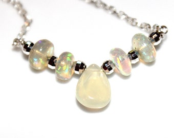 Large Opal Necklace Ethiopian Opal Necklace Opal Jewelry Simple Necklace Delicate Necklace Pear Opal Everyday Jewelry Five Stone Necklace