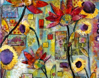 Floral, mixed media collage, on canvas, The Garden in my heart 16 x 20 artwork, dimensional,by Terri Chaney