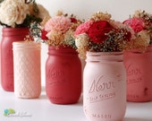 Valentines Day Gift for Her centerpiece Painted Mason Jars Vase Pink Red Coral