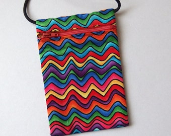 Pouch Zip Bag RAINBOW Waves Fabric. Great for walkers, markets, travel.  Cell Phone Pouch. Small fabric purse.  Bike Trike pouch. 6.5x4.25""
