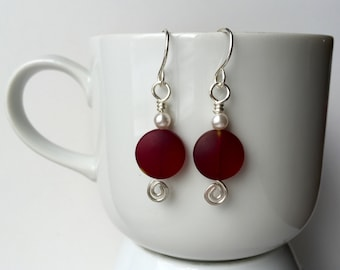 Sterling Silver and Red Sea Glass Earrings