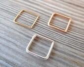 Septum Square Ring,Nose Ring piercing ring,cartilage,helix,tragus,death,ear hoop 14K Gold Filled/14K Solid Gold/925 Sterling Silver