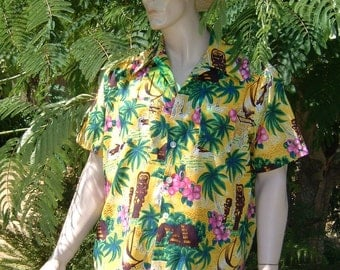 1970s Collectors Palm Tree of Branford Hawaiian/Aloha Men's Shirt - Made in Korea -Men's Size XL- Polyester Crepe