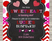 Valentine's Birthday Party invites invitations printable or digital file- Valentines- little sweetheart