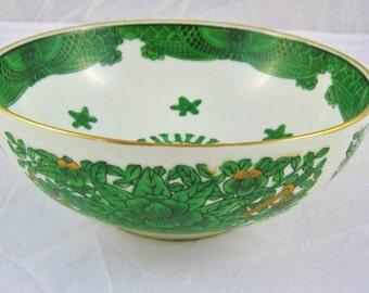 Gold Imari Bowl, Japanese, Emerald Green and Gold on White Porcelain