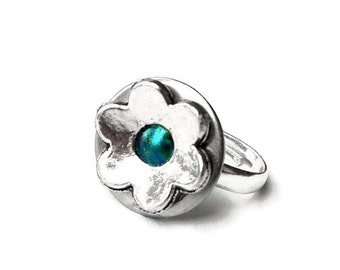 Adjustable Ring, Resin Jewelry, Metal Flower Ring, Customizable, Womens Ring, Gift for Daughter, Teal Jewelry