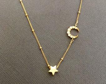 Sideway crescent moon necklace, CZ embedded star necklace, chocker, dainty star necklace, layering necklace, I love you to the moon and back
