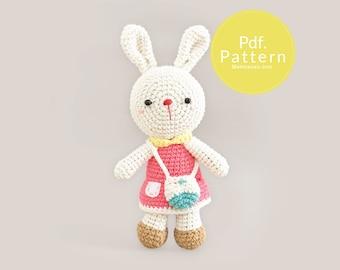 PDF. PATTERN - Bree Bunny,  Amigurumi pattern, Crochet pattern, Dollhouse pattern.