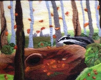 felt wall art, wet felted, woodland badger, 20 x 16 inches