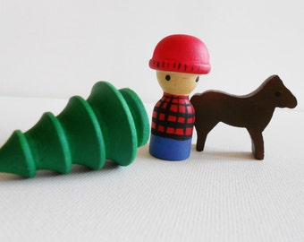 Lumberjack wood peg man, deer, and fir waldorf wooden toy forest woodland forester arborist tree cutter treeman