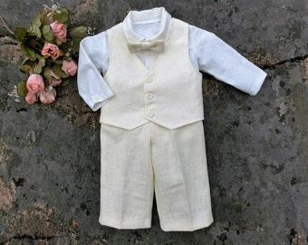 Christening outfit ivory.Baby boy baptism outfit, baby ring bearer suit, rustic baby suit, blessing oufit. Boy wedding outfit.Ivory suit.